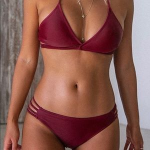 Cupshe Maroon Strappy Halter Bikini